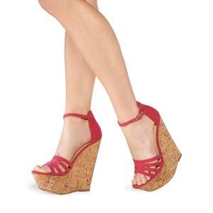 💢JustFab Zea Fuschia Wedge Sandals 8.5💢